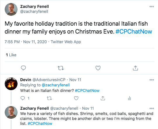 zach tweets his favorite tradition is an italian fish dinner on christmas eve, zach tweeted they have a variety of fish dishes: shrimps, smelts, cod balls, spaghetti and clams, and lobster