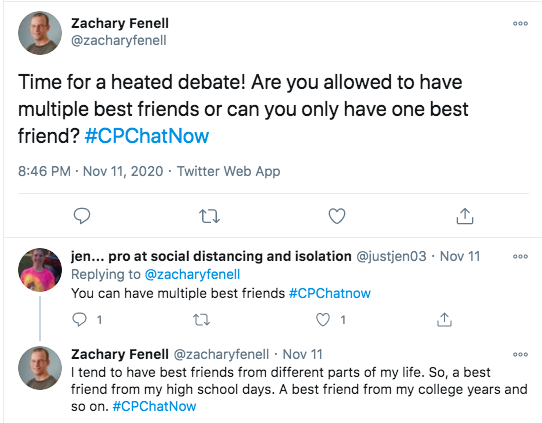 zach asks if members feel they can have multiple best friends, jen tweets she feels that you can, zach tweets he has best friends from different aspects of his life like high school and college