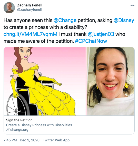 zach shared a change.org petition calling for disney to create a princess with a disability. he thanked jen for pointing out the petition
