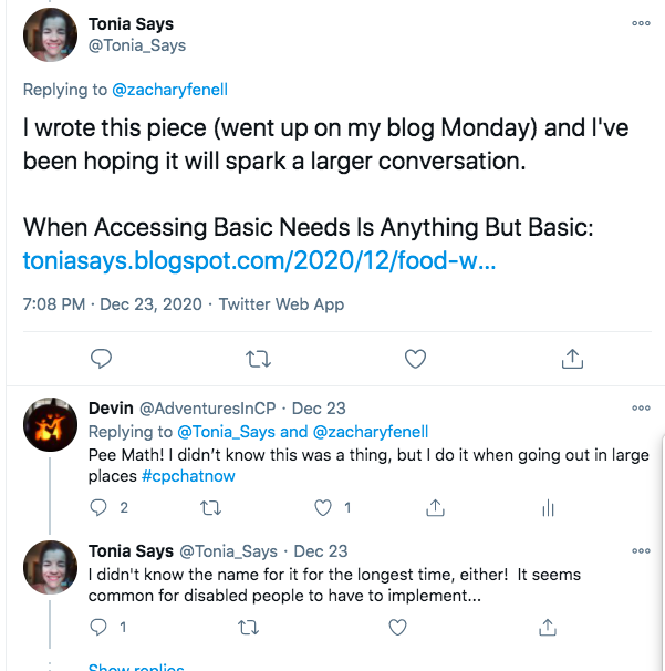 tonia tweets about her latest blog post, i tweeted about pee math and stated i didn't know it was a thing, but i do it when going out in large places, tonia tweeted she didn't know the name for it, but she does it as well