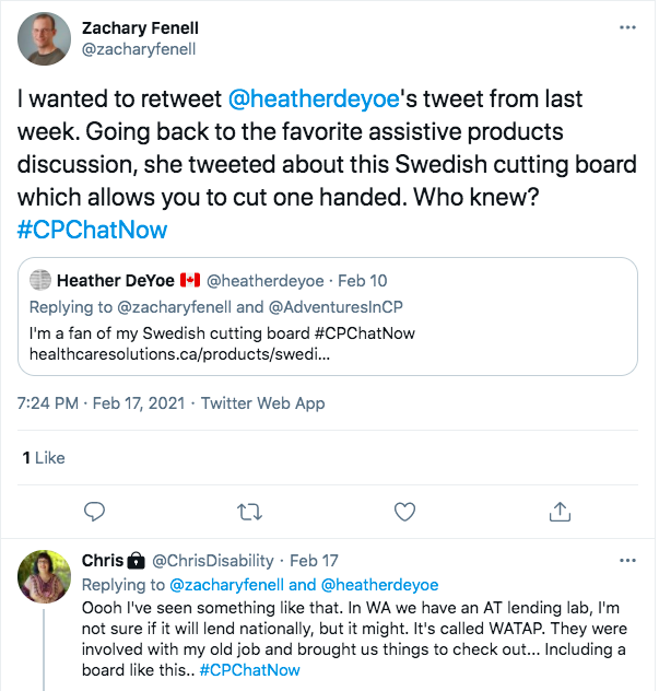 zach retweets heather's tweet about her swedish cutting board being her favorite assistive product, chris tweeted she has seen that and the state of washington has an AT lending lab that brought her things to check out