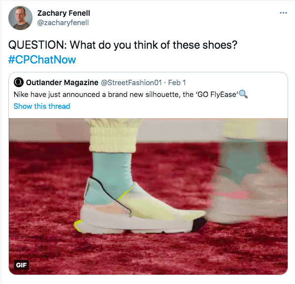 zach asks what people think of nike's new go flyease shoes, there is a gif of someone wearing a yellow, pink, and teal shoe