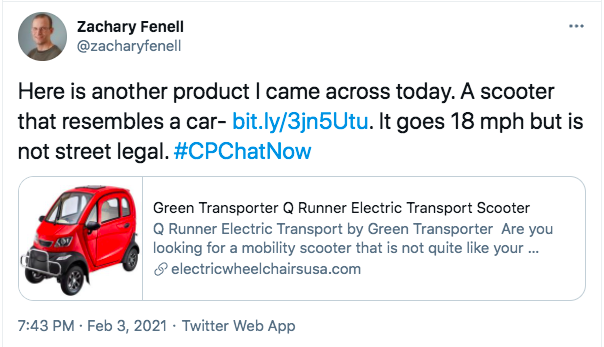 zach tweets about a scooter that looks like a car that goes 18 miles per hour, but is not street legal. the tweet includes an image of a scooter with a body of a red car