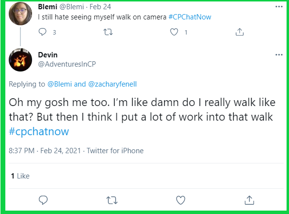 Devin adds to the conversation about seeing yourself walk.