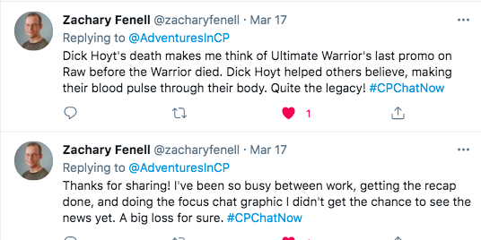 zach tweets dick hoyt's death made him think of ultimate warrior's promo before his death. dick hoyt helped others believe and made their blood pulse through their body.