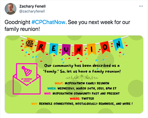 zach tweets announcing the #cpchatnow family reunion for march 24th. there is a graphic announcing the reunion and inviting people too join