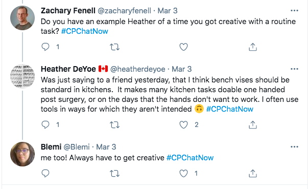zach asks heather if she has an example of time she got creative with a routine task, heather tweets she thinks bench vises should be standard in kitchens because they make kitchen tasks doable one handed and that she often uses tools in ways they are not intended, blemi tweets she is often creative
