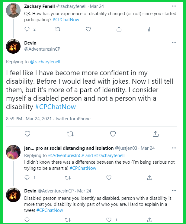 #CPChatNow participants discuss how participating in the weekly Twitter chat has changed their experience of disability.