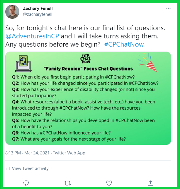 The list of questions for #CPChatNow's family reunion focus chat.