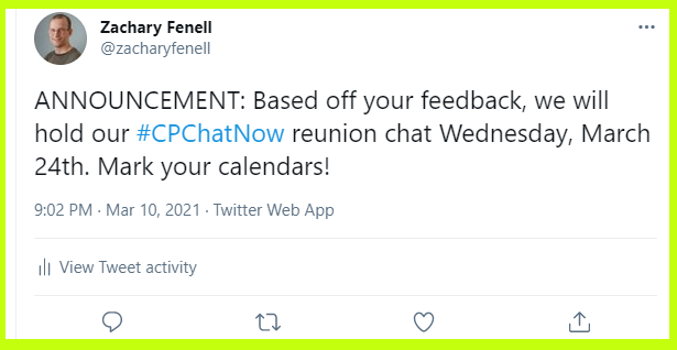#CPChatNow will host their first reunion focus chat on Wednesday, March 24th, 2021.