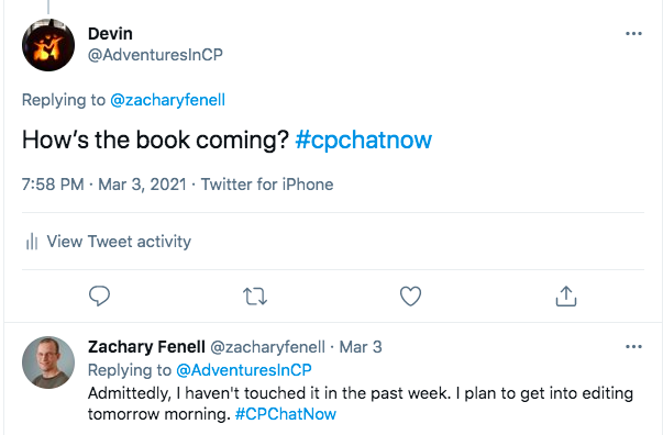 i ask zach how his book is coming, zach tweeted he has not touched it in the past week, but he is planning on getting to the editing process tomorrow morning