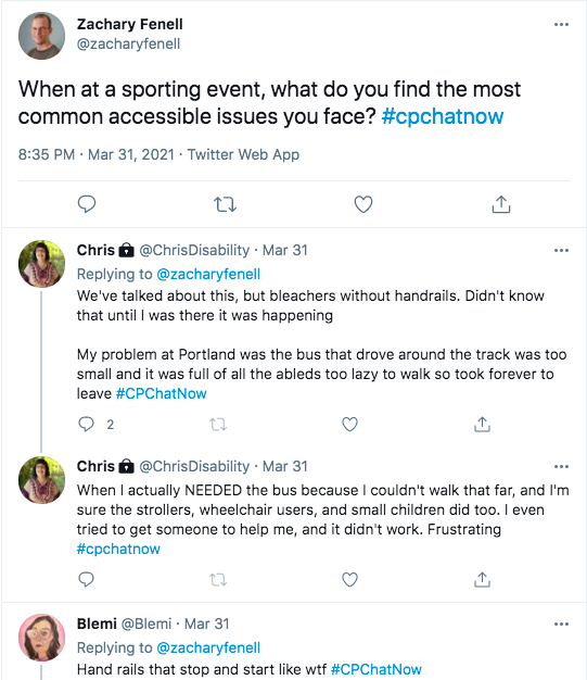 zach asked about accessibility issues members face at sporting events, chris tweeted about bleachers without handrails and buses with long routes that take forever, blemi tweeted hand rails that start and stop