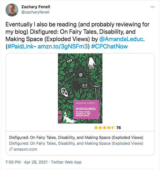 Zach tweeted that Amanda Leduc's book, Disfigured: On Fairy Tales, Disability, and Making Space, is on his to read list