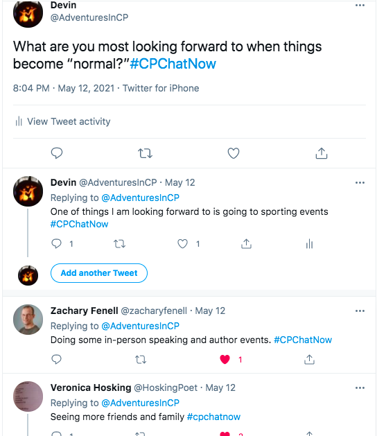 i ask what members are most looking forward to when things go back to normal. i tweeted i am looking forward to going to sporting events. zach tweeted he is looking forward to doing in-person speaking and author events. veronica tweets she looking forward to seeing more friends and family.