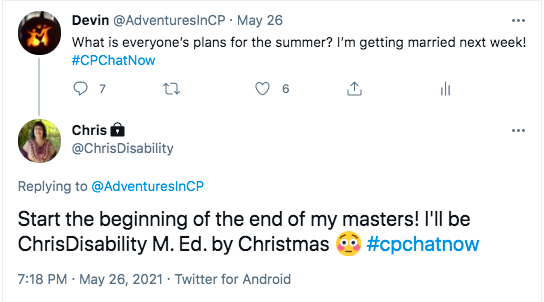 chris tweeted she is hoping to continue her masters and have it done by christmas