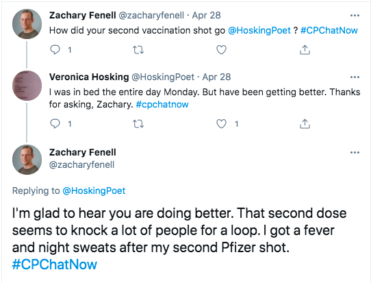 zach asks veronica how her second vaccination shot went, veronica tweeted she was in bed for the entire day monday, but is getting better, zach tweeted the second dose gave him a fever and night sweats