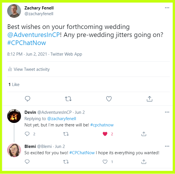 #CPChatNow participants wish co-host Devin well on his upcoming wedding.