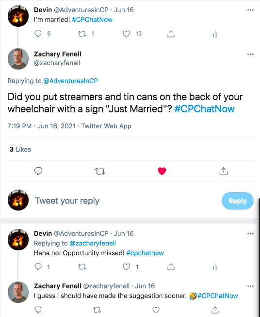 i tweet that i am married, zach asks if i put streamers and tin cans on the back of my wheelchair saying just married, i tweet that i did not and it was an opportunity missed, zach tweets he should made the suggestion sooner