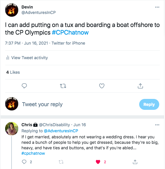 i tweet i can add putting on a tux and boarding a boat offshore to the CP olympics. chris tweeted she is not wearing a dress if she gets married because you need a bunch of people to help you and the weight of the dress