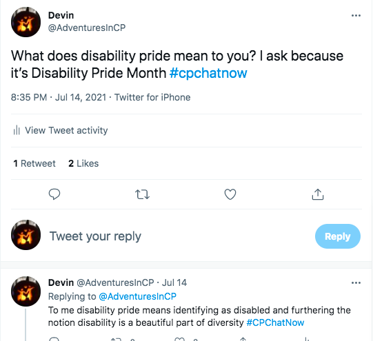 i ask what disability pride means to members to celebrate disability pride month. i tweeted disability pride means identifying as disabled and furthering the notion disability is a beautiful part of diversity.