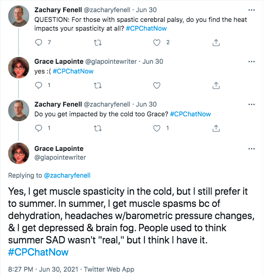 zach asked if members are impacted by heat. grace answered she gets spasticity in the cold, but prefers it to summer. she gets muscle spasms because of dehydration, headaches with barometric pressure changes, and depression with brain fog. grace thinks she has summer SAD