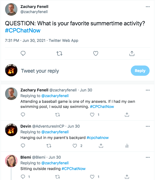 zach asked what is your favorite summer activity, he tweeted attending a baseball game is one of his favorites along with swimming, i tweeted i like to hang out in my parent's backyard, blemi tweeted she likes to sit outside and read.