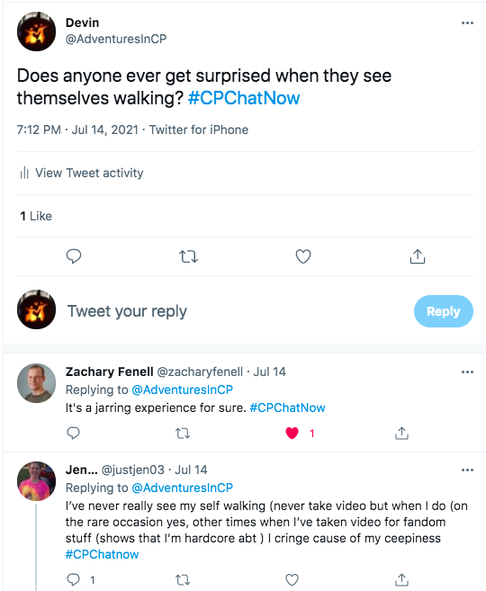 i ask if anyone else gets surprised with how they walk. zach tweets its a jarring experience. jen tweets she rarely sees herself walking, but yes and she has cringed when she sees herself on video.