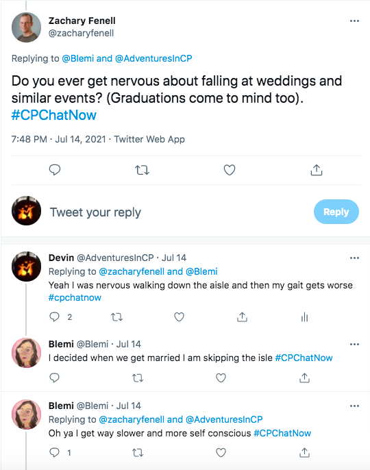 zach asked if members got nervous about falling at weddings and similar events. i tweeted i got nervous walking down the aisle and my gait gets worse. blemi tweeted she is skipping the aisle and she gets slower and more self conscious when she is nervous
