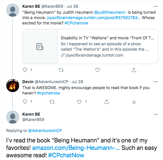 karen tweets that Being Heumann is being turned into a movie and asks who is excited. I tweeted my encouragement for people to read the book and karen tweeted she likes the book.