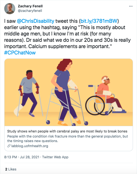 zach tweeted a link to an article demonstrating research that people with CP are more likely to break bones in their 50s
