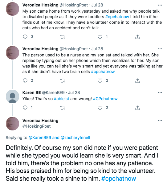 veronica tweeted about an interaction her son had with someone who used her phone to communicate at work. she appeared very smart, but other people did not treat her as smart, karen tweeted that is ableist and wrong, veronica tweeted she feels no one has any patience which is the problem