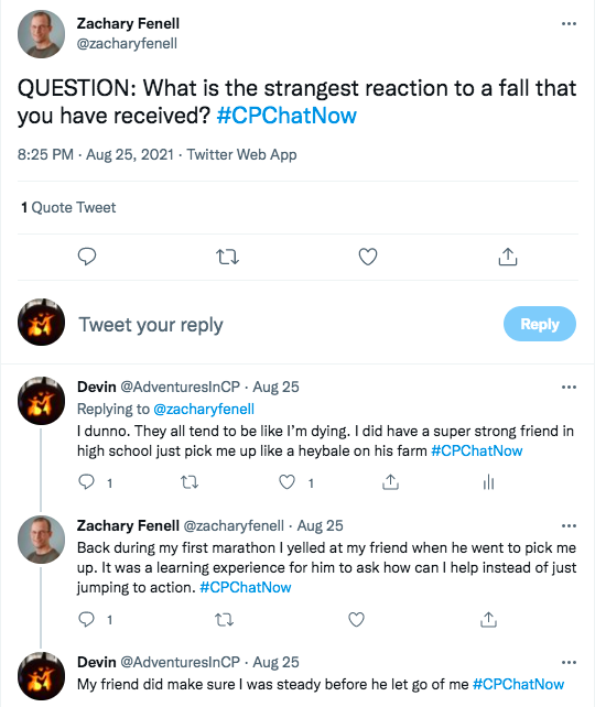 zach asks about the strangest reaction others have had to a fall, i tweeted about a friend in high school picking me up like a heybale on his farm, zach tweeted about yelling at a friend who did not ask him if he needs help when he went to pick zach up