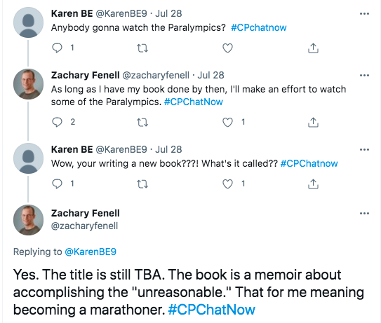 karen asked if people are going to watch the paralympics. zach tweeted he will if he has his book done by then. karen asked what his book is called. zach tweets the title is still TBA, but the book is about accomplishing the  unreasonable which for him is becoming a marathoner.