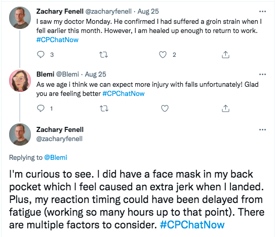 zach tweets he saw his doctor who confirmed he suffered a groin strain, blemi tweeted we can expect more falls as we age, zach tweeted he is curious about that, he did have a face mask in his back pocket which caused a jerk and his reaction time could be delayed
