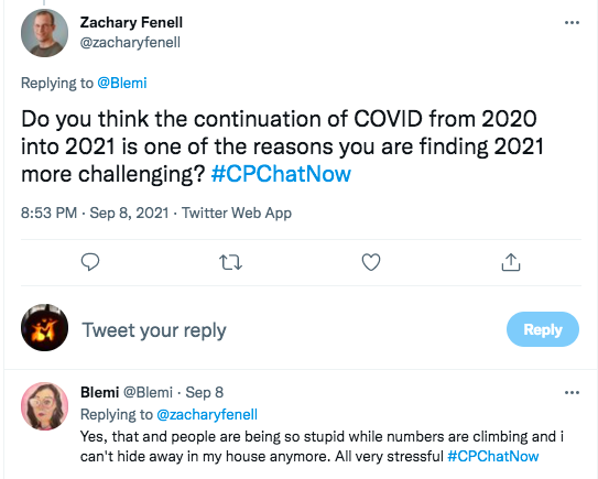 zach asks if the continuation of covid has made 2021 more challenging, blemi tweets her agreement and that people where she lives are being stupid with numbers climbing and she can't hide in the house
