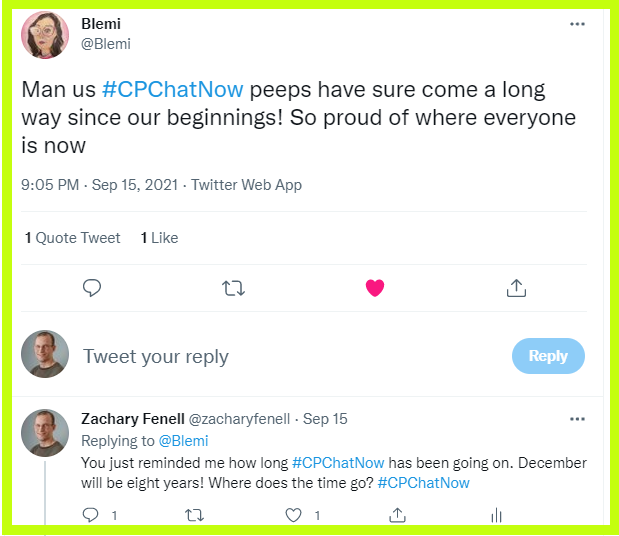 Blemi comments about how far people in the #CPChatNow community have come since the chat first started.