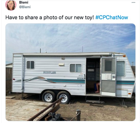 blemi tweets a picture of her new toy, a camper