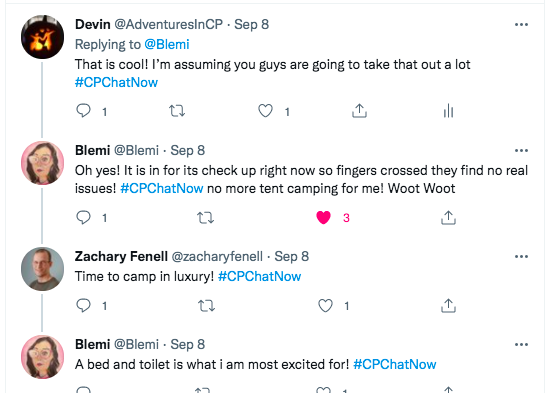 i tweet that i'm sure they will take the camper out a lot, blemi tweets it is in for a check up and she does not have to camp in a tent and will have a bed and toilet