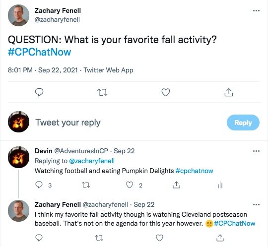 zach asks what members favorite fall activities are, i tweet watching football and eating pumpkin delights, zach tweeted his favorite fall activity is watching Cleveland postseason baseball, but not this year