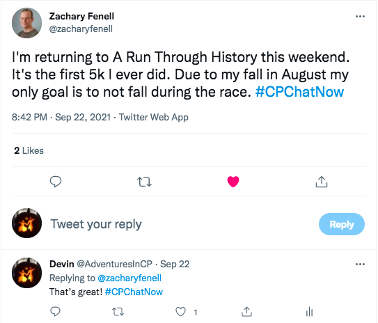 zach tweets he is doing a run through history 5k this weekend and his goal is to not fall during the race. i tweet my encouragement