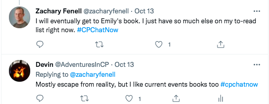 zach tweets he will eventually get to emily's book, but he has other things on his list. i tweet i mostly escape reality, but i like current event books.